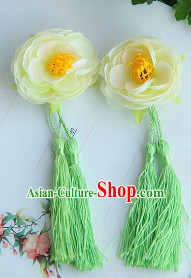 Traditional Handmade Chinese Ancient Princess Classical Hanfu Accessories Jewellery Silk Flowers Tassel Hair Step Shake Hair Claws, Tassel Hair Fascinators Hairpins for Women