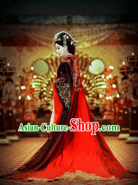 Traditional Ancient Chinese Imperial Empress Costume, Elegant Hanfu Wedding Dress Chinese Han Dynasty Imperial Empress Tailing Embroidered Phoenix Clothing for Women