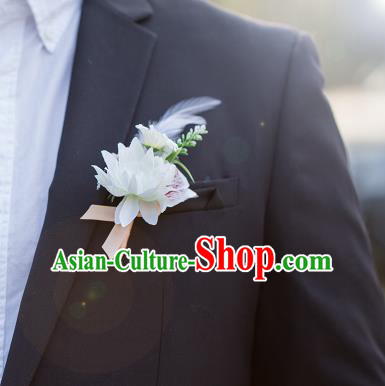 Top Grade Classical Wedding Silk Flowers,Groom Emulational Corsage Groomsman Pink Feather Brooch Flowers for Men
