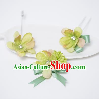 Traditional Handmade Classical Hair Accessories Bride Wedding Green Flowers Barrettes and Brooch Complete Set, Hair Sticks Hair Claws, Hair Fascinators Hairpins for Women
