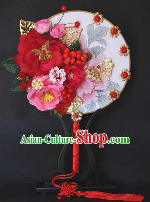 Traditional Handmade Chinese Ancient Classical Wedding Accessories Decoration, Bride Wedding Flowers Round Fan, Hanfu Xiuhe Suit Palace Red Fan for Women