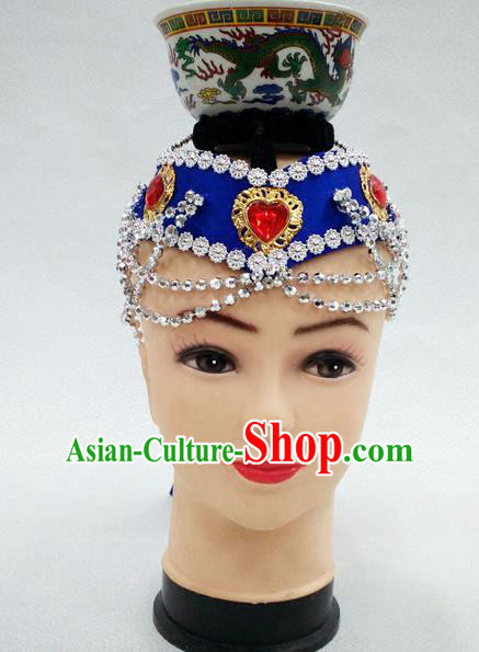 Traditional Chinese Mongol Nationality Dancing Accessories Headdress, Mongolian Folk Dance Ethnic Headwear Top Bowl Dance Blue Hat for Women