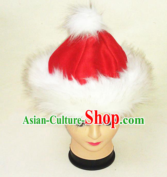 Traditional Chinese Mongol Nationality Dancing Accessories Headdress, Mongolian Folk Dance Ethnic Children Headwear China Mongolian Minority Palace Princess Red Deer Velvet Hat for Kids