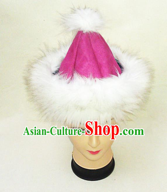 Traditional Chinese Mongol Nationality Dancing Accessories Headdress, Mongolian Folk Dance Ethnic Children Headwear China Mongolian Minority Palace Princess Pink Deer Velvet Hat for Kids