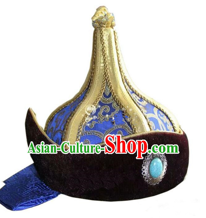 Traditional Chinese Top Grade Mongol Nationality Dancing Accessories Headdress, Mongolian Folk Dance Ethnic Headwear China Mongolian Minority Royal Highness Wedding Royalblue Hat for Men
