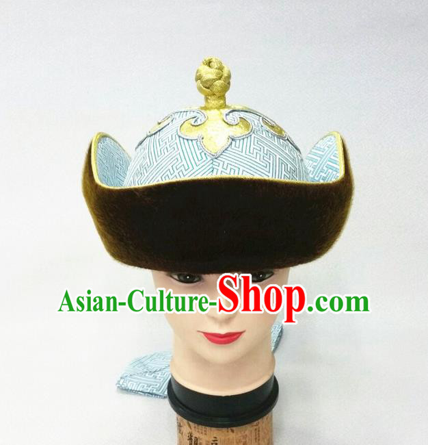 Traditional Chinese Top Grade Mongol Nationality Dancing Accessories Headdress, Mongolian Princes Folk Dance Ethnic Headwear China Mongolian Minority Royal Highness Wedding Blue Hat for Men