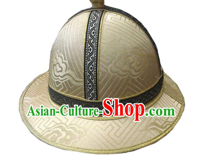 Traditional Chinese Top Grade Mongol Nationality Dancing Accessories Headdress, Mongolian Princes Folk Dance Ethnic Headwear China Mongolian Minority Royal Highness Wedding Round Gold Hat for Men
