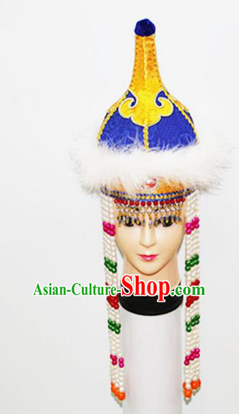 Traditional Chinese Top Grade Mongol Nationality Dancing Accessories Headdress, Mongolian Children Folk Dance Ethnic Headwear China Minority Palace Princess Dance Bead Blue Hat for Kids