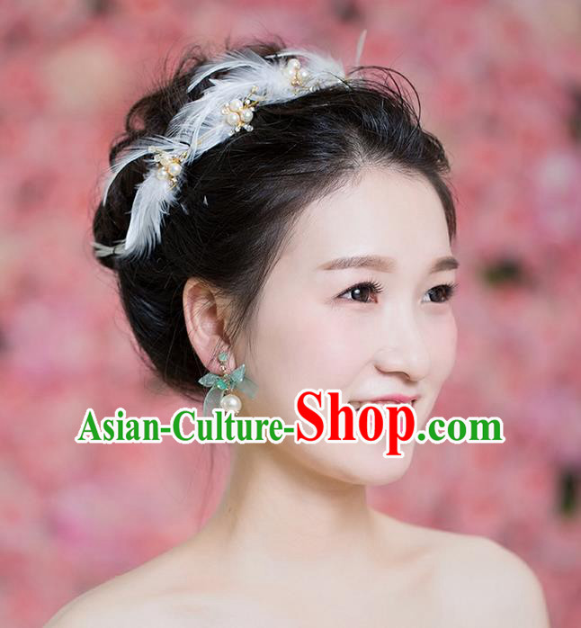 Handmade Chinese Classical Hair Accessories Wedding Hair Sticks Hair Jewellery, Bride Royal Crown Pearl Feather Hair Clasp for Women