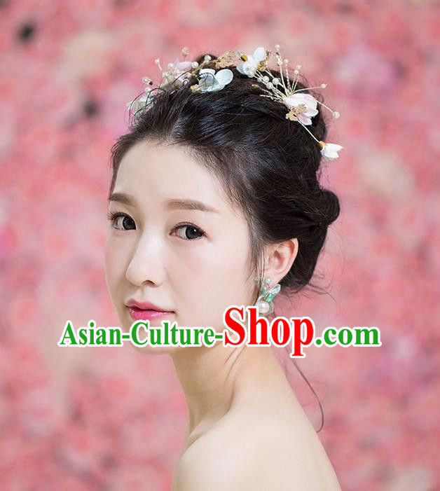 Handmade Chinese Classical Hair Accessories Wedding Hair Sticks Hair Jewellery, Bride Royal Crown Pearl Flowers Hair Clasp for Women