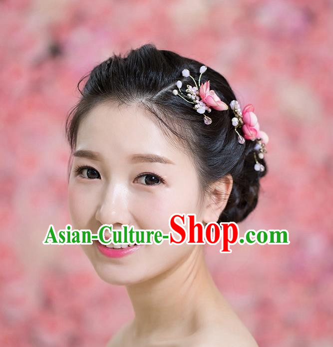 Handmade Chinese Classical Hair Accessories Wedding Hair Sticks Hair Jewellery, Bride Royal Crown Red Plum Flowers Hair Clasp for Women