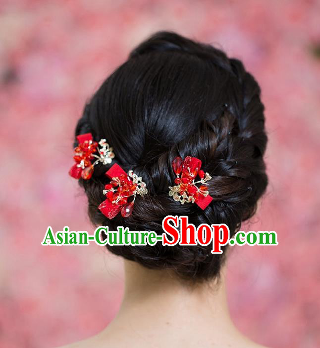 Handmade Chinese Classical Hair Accessories Wedding Hair Sticks Hair Jewellery, Bride Royal Crown Xiuhe Suit Red Hair Clasp for Women