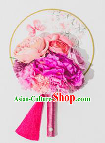Traditional Handmade Chinese Ancient Classical Wedding Accessories Decoration, Bride Wedding Flowers Round Fan, Hanfu Xiuhe Suit Palace Pink Flowers Fan for Women