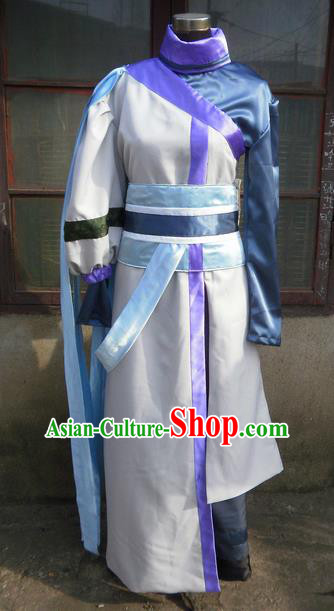 Traditional Ancient Chinese Classical Cartoon Character Uniform Cosplay Game Role Qin Dynasty Swordsman White Costume Complete Set for Men
