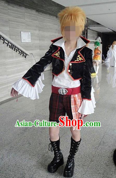 Classical Cartoon Character Swordsman Uniform Game Role Swordmen Costumes Complete Set for Men