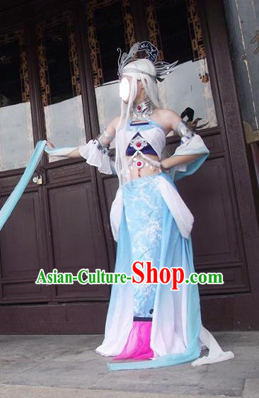 Traditional Ancient Chinese Classical Cartoon Character Dress Uniform Cosplay Game Role Qin Dynasty Snow Girl Costume Complete Set for Women