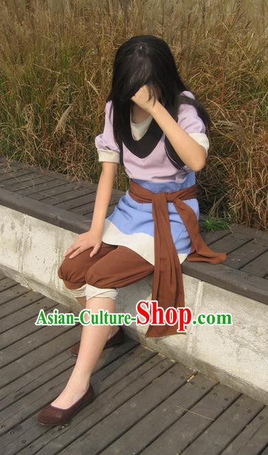 Traditional Ancient Chinese Classical Cartoon Character Uniform Cosplay Game Role Qin Dynasty Swordmen Costume Complete Set for Women