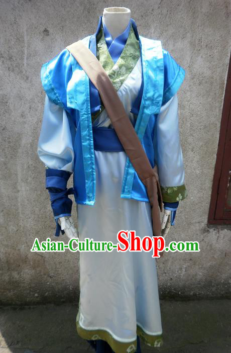 Traditional Ancient Chinese Classical Cartoon Character Nobility Childe Uniform Cosplay Game Role Han Dynasty Swordmen Costume Complete Set for Men
