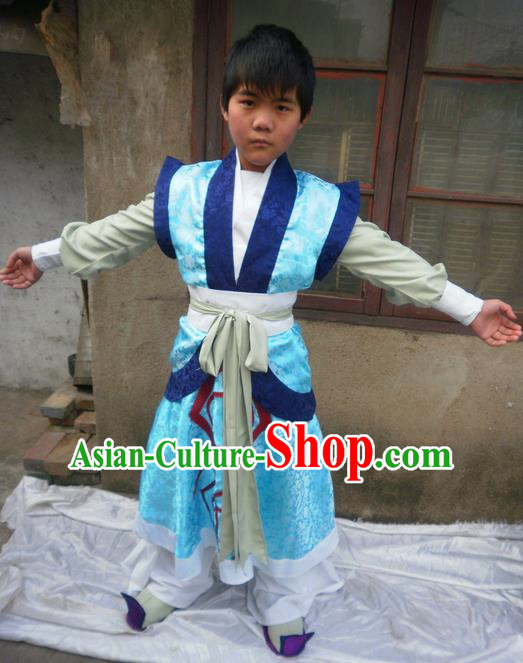 Traditional Ancient Chinese Classical Cartoon Character Little Nobility Childe Uniform Cosplay Game Role Han Dynasty Children Swordmen Prince Costume Complete Set for Men