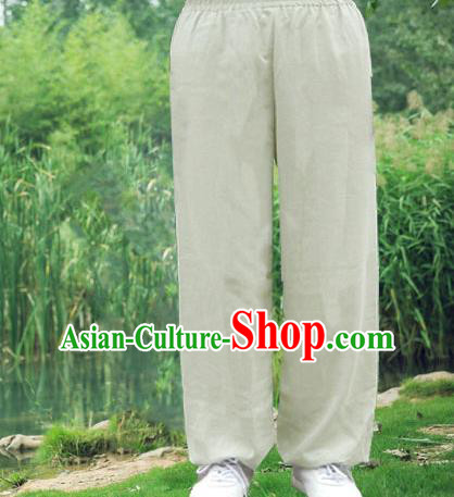 Traditional Chinese Top Linen Kung Fu Costume Martial Arts Kung Fu Training Light Grey Pants, Tang Suit Gongfu Shaolin Wushu Clothing Tai Chi Taiji Teacher Trousers for Men