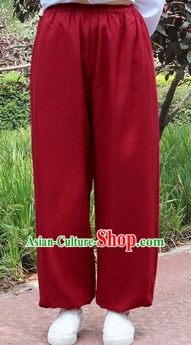 Traditional Chinese Top Linen Kung Fu Costume Martial Arts Kung Fu Training Red Pants, Tang Suit Gongfu Shaolin Wushu Clothing Tai Chi Taiji Teacher Trousers for Men