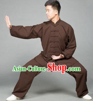 Traditional Chinese Top Flax Kung Fu Costume Martial Arts Kung Fu Training Brown Uniform, Tang Suit Gongfu Shaolin Wushu Clothing, Tai Chi Taiji Teacher Suits Uniforms for Men