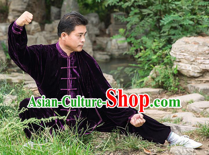 Traditional Chinese Top Pleuche Kung Fu Costume Martial Arts Kung Fu Training Purple Uniform, Tang Suit Gongfu Shaolin Wushu Clothing, Tai Chi Taiji Teacher Suits Uniforms for Men