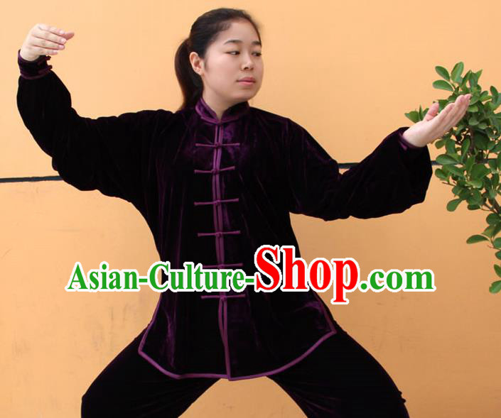 Traditional Chinese Top Pleuche Kung Fu Costume Martial Arts Kung Fu Training Purple Uniform, Tang Suit Gongfu Shaolin Wushu Clothing, Tai Chi Taiji Teacher Suits Uniforms for Women