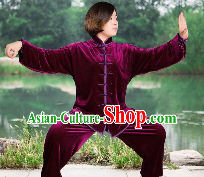 Traditional Chinese Top Pleuche Kung Fu Costume Martial Arts Kung Fu Training Purple Plated Buttons Uniform, Tang Suit Gongfu Shaolin Wushu Clothing, Tai Chi Taiji Teacher Suits Uniforms for Women