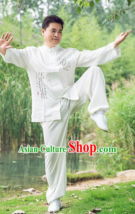 Traditional Chinese Top Linen Kung Fu Costume Martial Arts Kung Fu Training Long Sleeve Plated Buttons White Uniform, Tang Suit Gongfu Shaolin Wushu Clothing, Tai Chi Taiji Teacher Suits Uniforms for Men