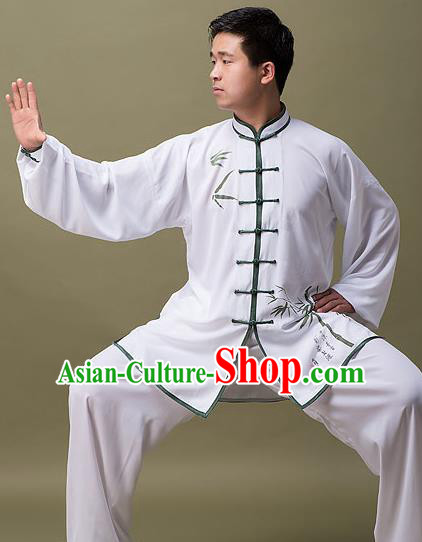 Traditional Chinese Top Linen Kung Fu Costume Martial Arts Kung Fu Training Plated Buttons White Printing Bamboo Uniform, Tang Suit Gongfu Shaolin Wushu Clothing, Tai Chi Taiji Teacher Suits Uniforms for Men