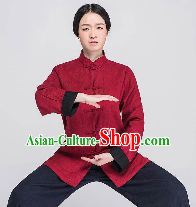 Traditional Chinese Top Linen Kung Fu Costume Martial Arts Kung Fu Training Plated Buttons Red Blouse, Tang Suit Gongfu Shaolin Wushu Clothing, Tai Chi Taiji Teacher Coat for Women
