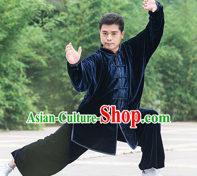Traditional Chinese Top Pleuche Kung Fu Costume Martial Arts Kung Fu Training Royalblue Plated Buttons Uniform, Tang Suit Gongfu Shaolin Wushu Clothing, Tai Chi Taiji Teacher Suits Uniforms for Men