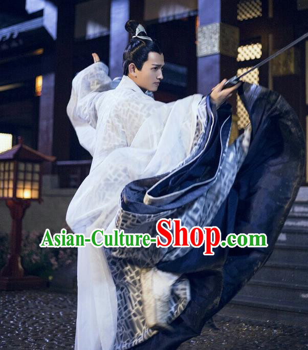 Traditional Ancient Chinese Nobility Childe Costume, Elegant Hanfu Male Lordling Dress Ancient Swordsman Clothing, China Warring States Period Qu Yuan Imperial Prince Embroidered Clothing for Men
