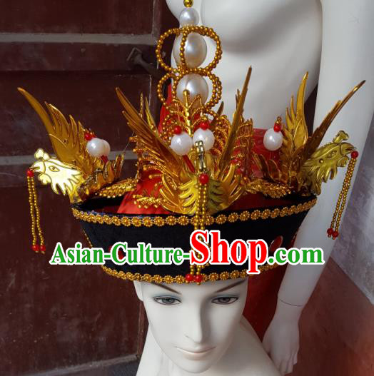 Traditional Chinese Ancient Costume Qing Dynasty Manchu Imperial Empress Wedding Headdress Phoenix Crown Empress Dowager Headband Flag Head for Women