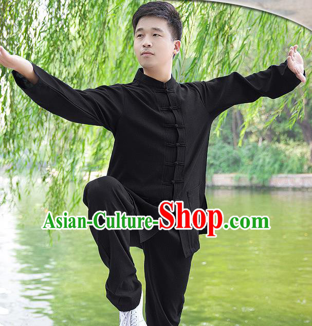 Traditional Chinese Top Linen Kung Fu Costume Martial Arts Kung Fu Training Long Sleeve Black Uniform, Tang Suit Gongfu Shaolin Wushu Clothing, Tai Chi Taiji Teacher Suits Uniforms for Men