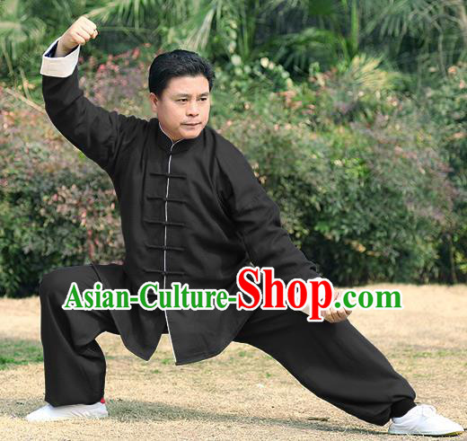 Traditional Chinese Top Linen Kung Fu Costume Martial Arts Kung Fu Training Roll Sleeve Black Uniform, Tang Suit Gongfu Shaolin Wushu Clothing, Tai Chi Taiji Teacher Suits Uniforms for Men