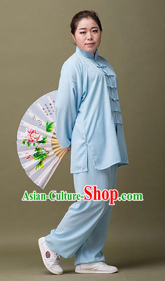 Traditional Chinese Top Silk Cotton Kung Fu Costume Martial Arts Kung Fu Training Plated Buttons Blue Uniform, Tang Suit Gongfu Shaolin Wushu Clothing, Tai Chi Taiji Teacher Suits Uniforms for Women
