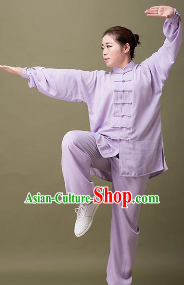 Traditional Chinese Top Silk Cotton Kung Fu Costume Martial Arts Kung Fu Training Plated Buttons Purple Uniform, Tang Suit Gongfu Shaolin Wushu Clothing, Tai Chi Taiji Teacher Suits Uniforms for Women