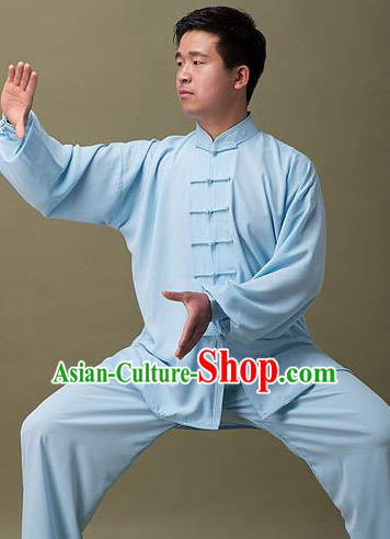 Traditional Chinese Top Silk Cotton Kung Fu Costume Martial Arts Kung Fu Training Plated Buttons Blue Uniform, Tang Suit Gongfu Shaolin Wushu Clothing, Tai Chi Taiji Teacher Suits Uniforms for Men