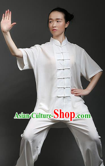 Traditional Chinese Top Linen Kung Fu Costume Martial Arts Kung Fu Training Plated Buttons Short Sleeve White Uniform, Tang Suit Gongfu Shaolin Wushu Clothing, Tai Chi Taiji Teacher Suits Uniforms for Women