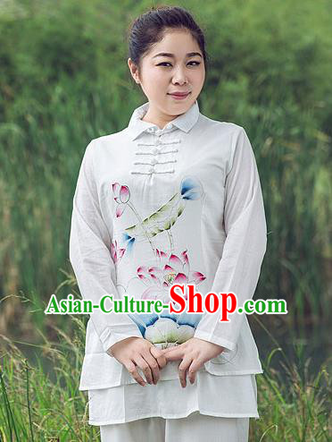 Traditional Chinese Top Linen Kung Fu Costume Martial Arts Kung Fu Training Plated Buttons Freehand Sketching Lotus Uniform, Tang Suit Gongfu Shaolin Wushu Clothing, Tai Chi Taiji Teacher Suits Uniforms for Women