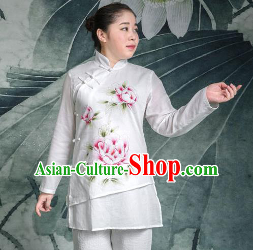 Traditional Chinese Top Linen Kung Fu Costume Martial Arts Kung Fu Training Plated Buttons Freehand Sketching Peony Uniform, Tang Suit Gongfu Shaolin Wushu Clothing, Tai Chi Taiji Teacher Suits Uniforms for Women