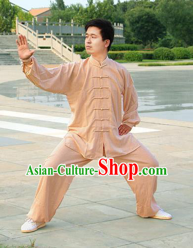 Traditional Chinese Top Linen Kung Fu Costume Martial Arts Kung Fu Training Grey Uniform, Tang Suit Gongfu Shaolin Wushu Clothing, Tai Chi Taiji Teacher Suits Uniforms for Men
