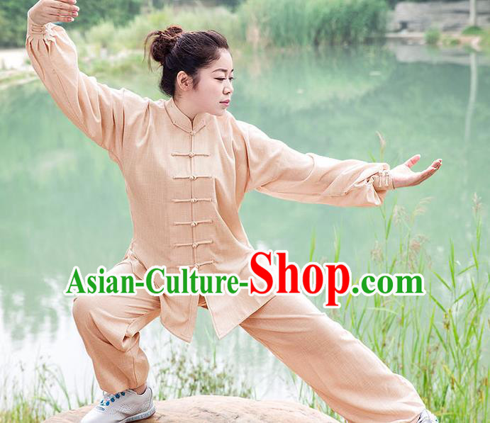 Traditional Chinese Top Linen Kung Fu Costume Martial Arts Kung Fu Training Wheat Uniform, Tang Suit Gongfu Shaolin Wushu Clothing, Tai Chi Taiji Teacher Suits Uniforms for Women