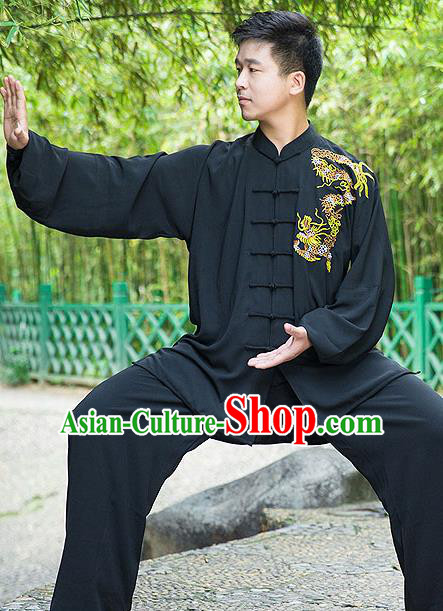 Traditional Chinese Top Linen Kung Fu Costume Martial Arts Kung Fu Training Embroidery Gragon Black Uniform, Tang Suit Gongfu Shaolin Wushu Clothing, Tai Chi Taiji Teacher Suits Uniforms for Men