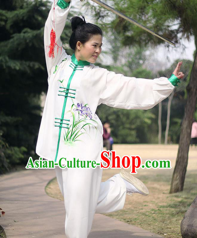 Traditional Chinese Top Gastrodia Kung Fu Costume Martial Arts Kung Fu Training Plated Buttons Orchid Uniform, Tang Suit Gongfu Shaolin Wushu Clothing, Tai Chi Taiji Teacher Suits Uniforms for Women