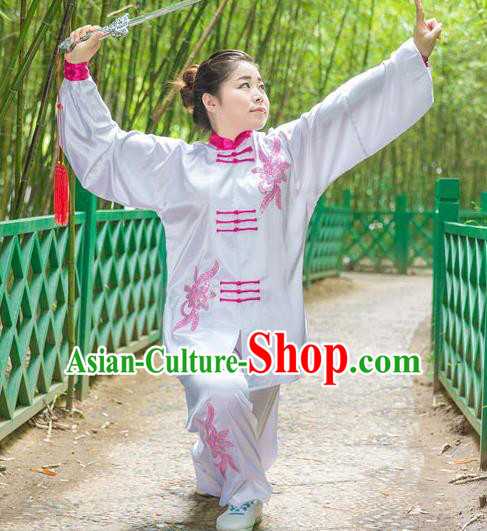 Traditional Chinese Top Stretch Silk Kung Fu Costume Martial Arts Kung Fu Training White Embroidery Uniform, Tang Suit Gongfu Shaolin Wushu Clothing, Tai Chi Taiji Teacher Suits Uniforms for Women