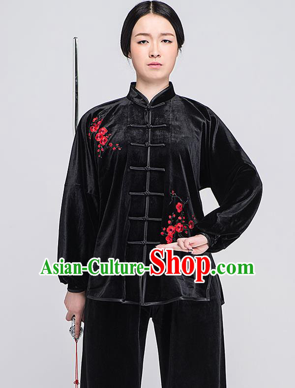 Traditional Chinese Top South Korea Velvet Kung Fu Costume Martial Arts Kung Fu Training Black Embroidered Uniform, Tang Suit Gongfu Shaolin Wushu Clothing, Tai Chi Taiji Teacher Suits Uniforms for Women