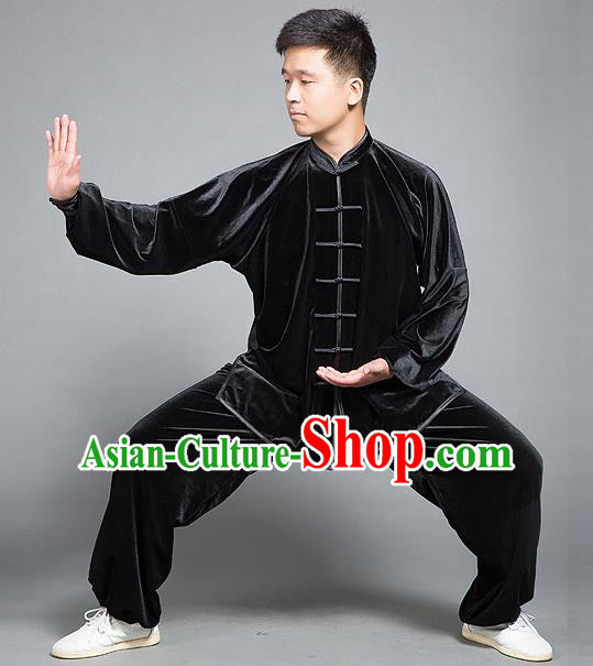 Traditional Chinese Top Gold Velvet Kung Fu Costume Martial Arts Kung Fu Training Plated Buttons Black Uniform, Tang Suit Gongfu Shaolin Wushu Clothing, Tai Chi Taiji Teacher Suits Uniforms for Men